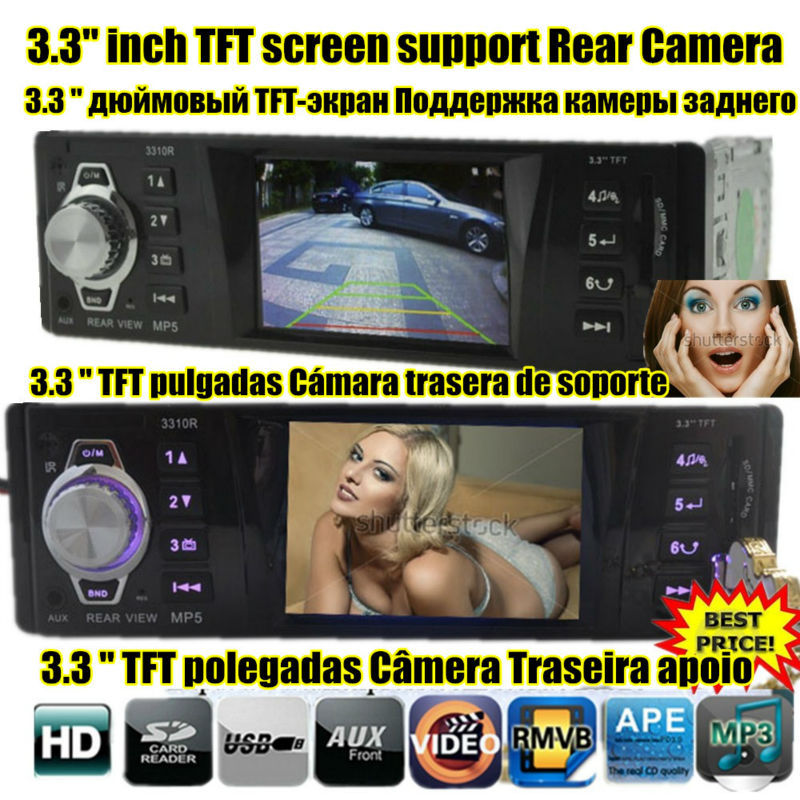 NEW 3.3 inch TFT screen Support Rear Camera Car radio player car audio Stereo MP5 MP4 MP3 12V Video FM USB/SD/MMC/1 Din In-Dash(China (Mainland))