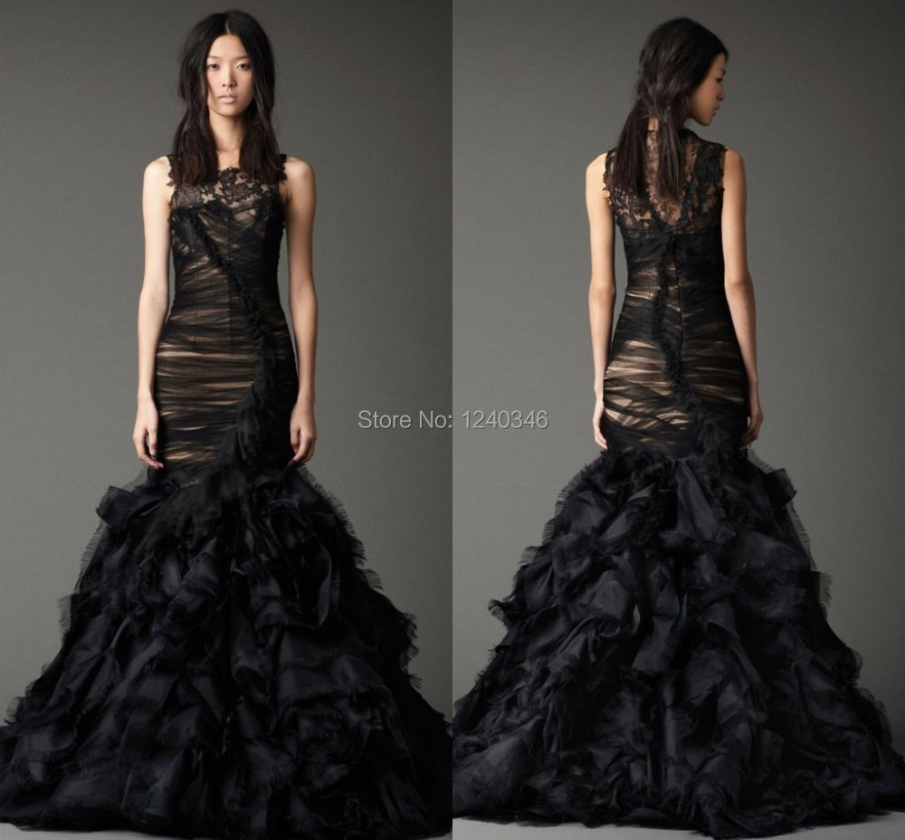 Sexy black design scoop 2015 mermaid wedding dresses tulle for Black designer wedding dresses