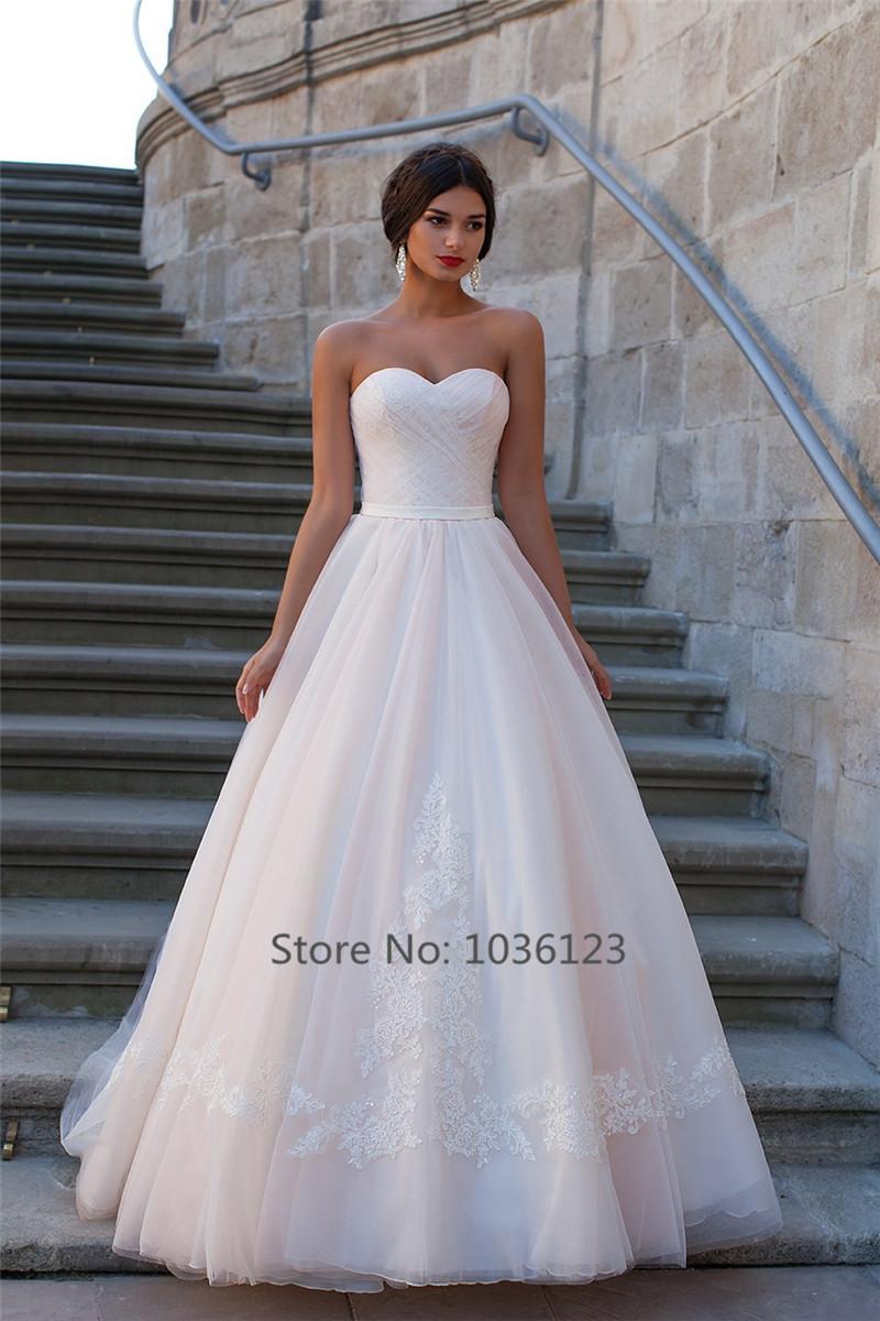 Vestidos de noiva Sweetheart wedding dresses lace applique simple elegant bridal gowns tulle floor length lace