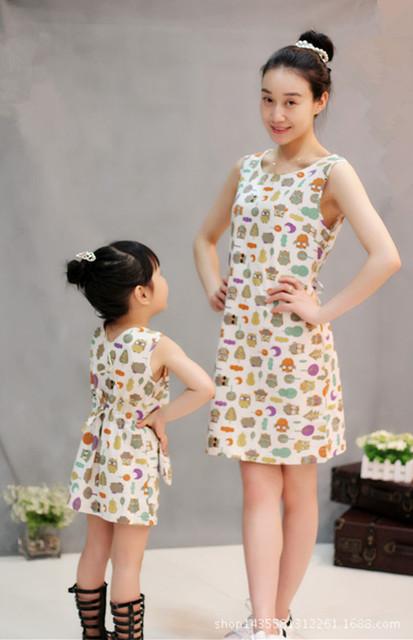 Семья соответствующие наряды мать дочь платья сова мама девушки платье набор девушки ...