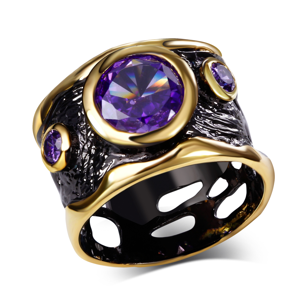 2016 ring women Fashion Classic Rings Casual Classic Birthday Gift Ladies luxury rings Cubic Zirconia 18K Gold & Black Plated()