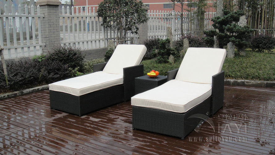 3 pcs Adjustable Resin Wicker Lounge Chair Set , Beach Chaise Lounge transport by sea(China (Mainland))
