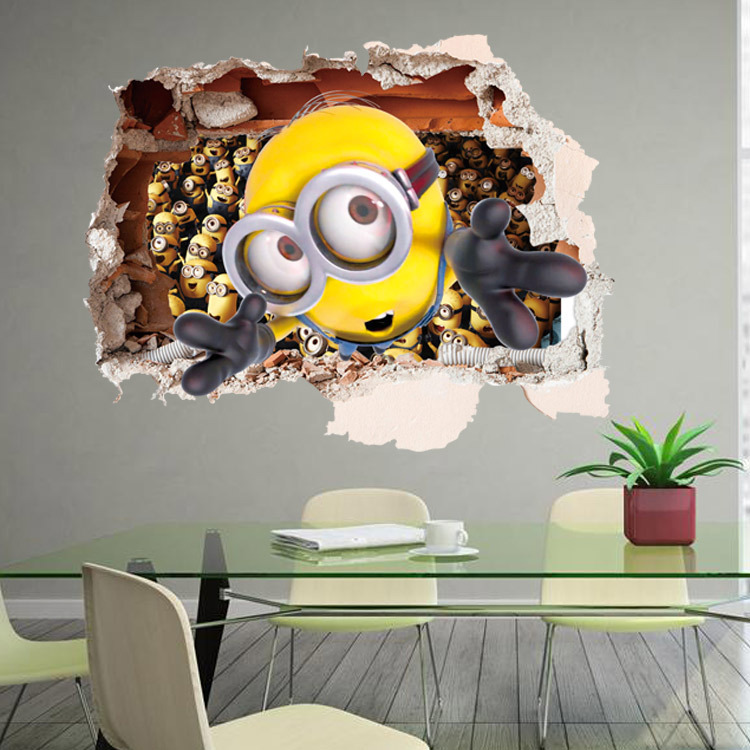 Despicable Me minions 3D stereoscopic wall stickers living room bedroom children's room backdrop decorative painting wallpaper(China (Mainland))