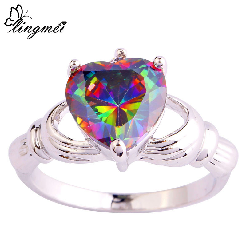 lingmei Unisex Claddagh Rings Heart Mysterious Rainbow & White Topaz Silver Ring Size 7 8 9 10 PRECIOUS JEWELRY - LingMei jewelry Co., Ltd. store