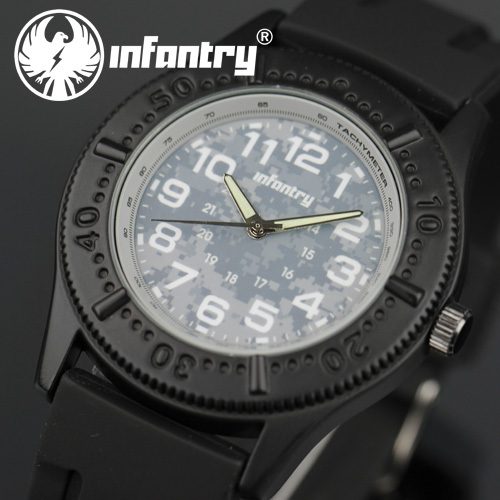 INFANTRY Men's Army Sport Camouflage Dial Black Silicone Band Lume Hand Quartz Analog Wrist Watch(Hong Kong)