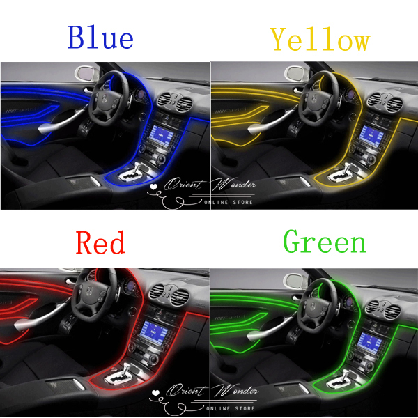 CAR EL wire Flexible Neon Light 3M electroluminescent neon wire car decoration line Color options cars (2.3mm) FREE SHIPPING(China (Mainland))