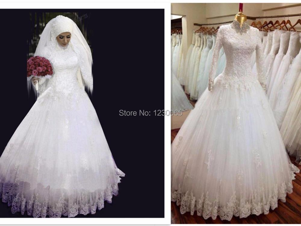 Top quality high neck arabic hijab muslim wedding dresses for Arabic wedding dresses with hijab
