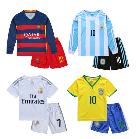 2016 New Thin breathable Children football Soccer Sets kids Girls clothing set twinset Boys Sport child Active Clothes Summer(China (Mainland))