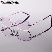 Beautiful Bright Titanium Rimless Eyewear Luxury Glasses Korean Women Including 1.61 Asphereic Tinted HMC UV400 EMI Lenses 58073