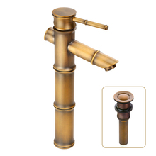Free Shipping/Water Heater To Chinese Antique Copper Bamboo Faucet Washbasin Faucet Faucet(China (Mainland))