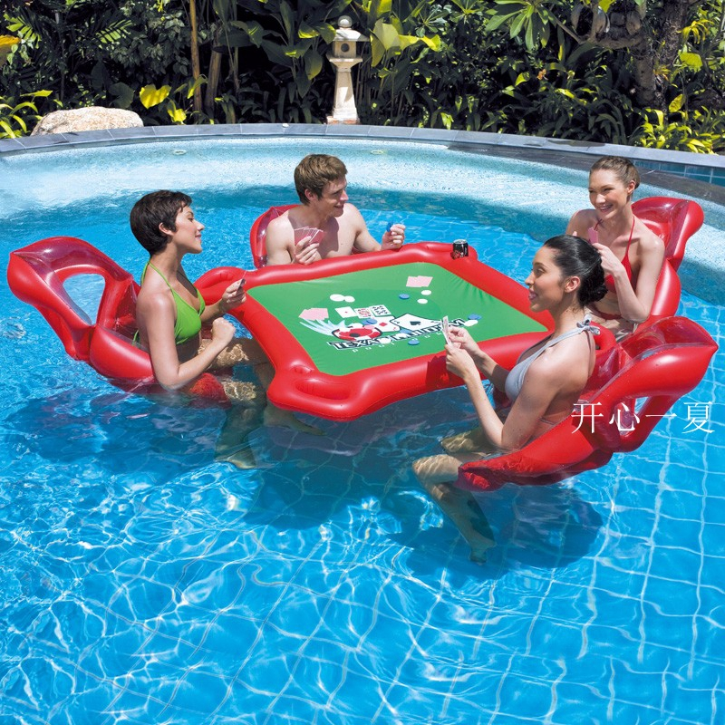 Inflatable water toys poker game adult swim ring mounts for Swimming pool poker