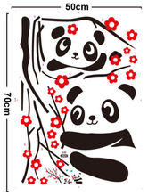 Wall Decal Vinyl Cherry Blossom Japan Tree Panda Bear Removable Vinyl Sticker 70X50CM