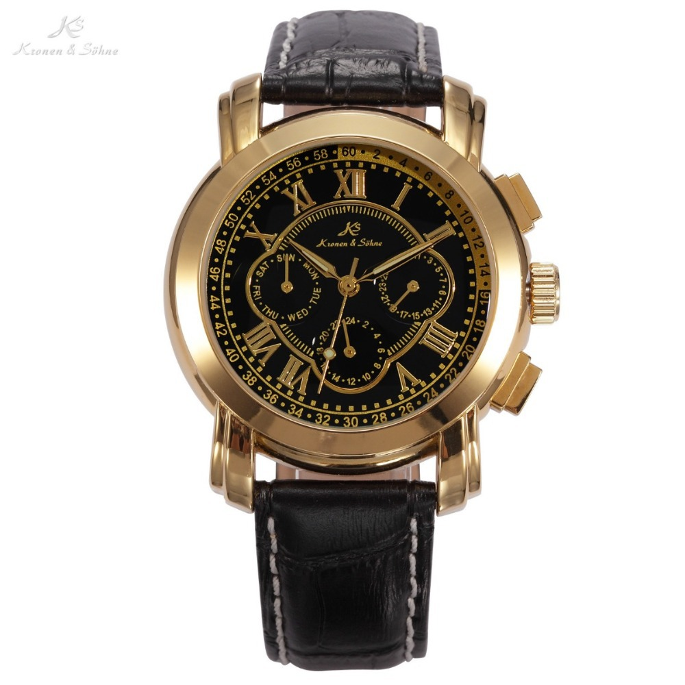 KS Date Day Calendar Stainless Steel Case Self Wind Dress Black Golden Automatic Mechanical Men's Leather Strap Watch / KS046(China (Mainland))