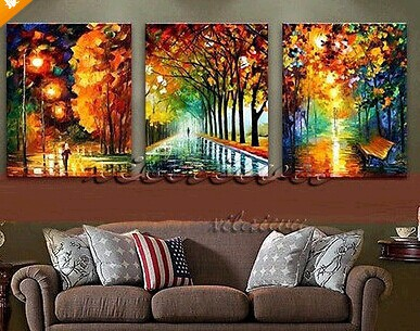 New 100% Hand Painted Landscape City Bench Night Modern Oil Canvas Painting For Living Room Wall Art walking in the rain 50*60CM(China (Mainland))