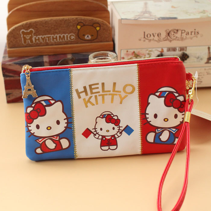 Cute Hello Kitty Girls Pencil Case Women Mobile Phone Bags Zipper Wallet flag shape storage bag with handle PU leather best gift(China (Mainland))