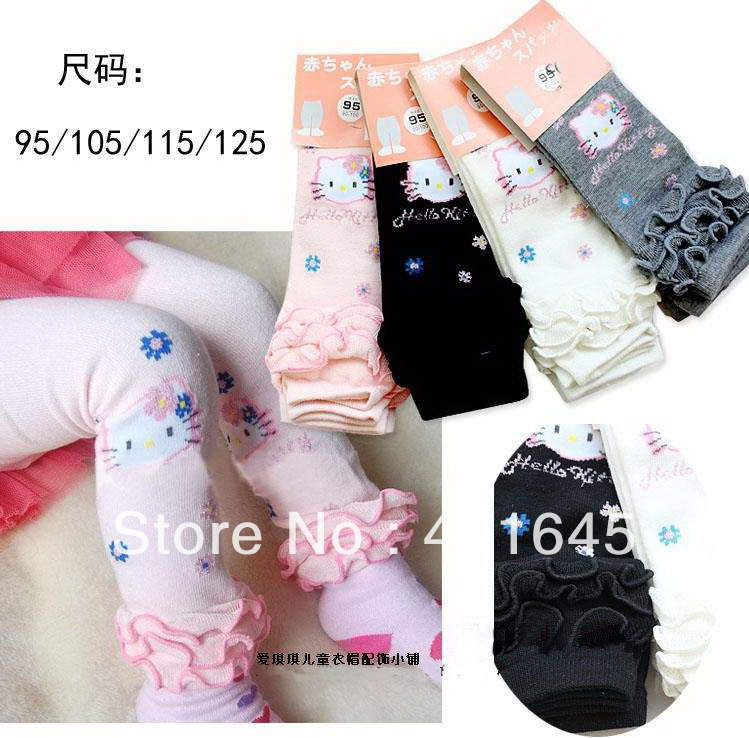2014 new item girl cartoon hello kitty design legging four colors kids autumn legging(China (Mainland))