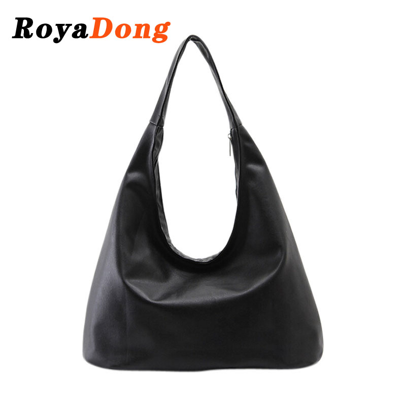 RoyaDong Brand 2016 New Women's Handbags Luxury Shoulder Bags Hobos Designer Hand Bags For Women Black PU Leather Bags Ladies(China (Mainland))
