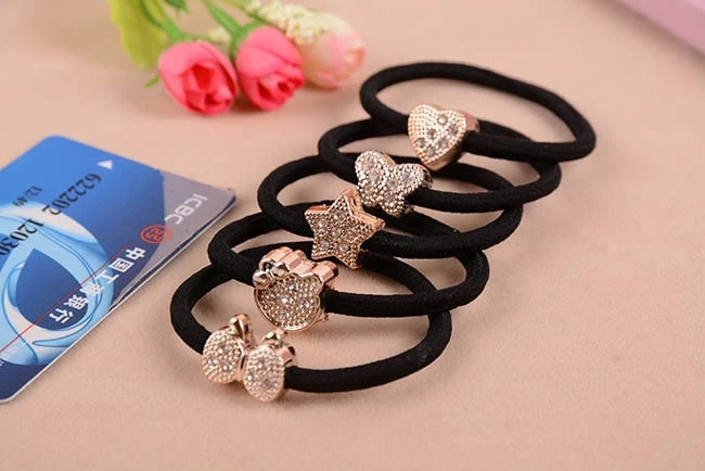10pcs/lot Crystal Heart Cat Star Butterfly Black Elastic Ponytail Holders Hair Accessories Girl Women Rubber Band Mixed(China (Mainland))