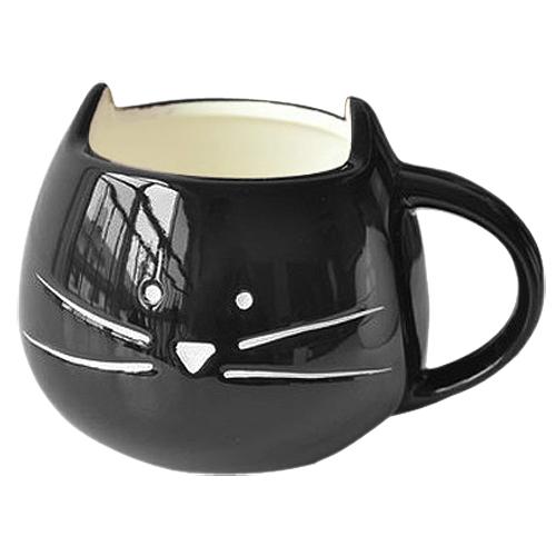 FJS!Coffee Cup White Cat Animal Milk Cup Ceramic Lovers Mug Cute Birthday gift,Christmas Gift(Black)(China (Mainland))