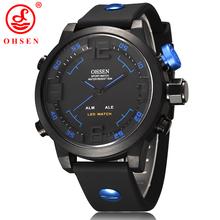 Ohsen marca Casual hombres relojes deportivos 2 zona de tiempo Digital LED cuarzo vestido de moda correa del silicón del reloj de buceo reloj militar