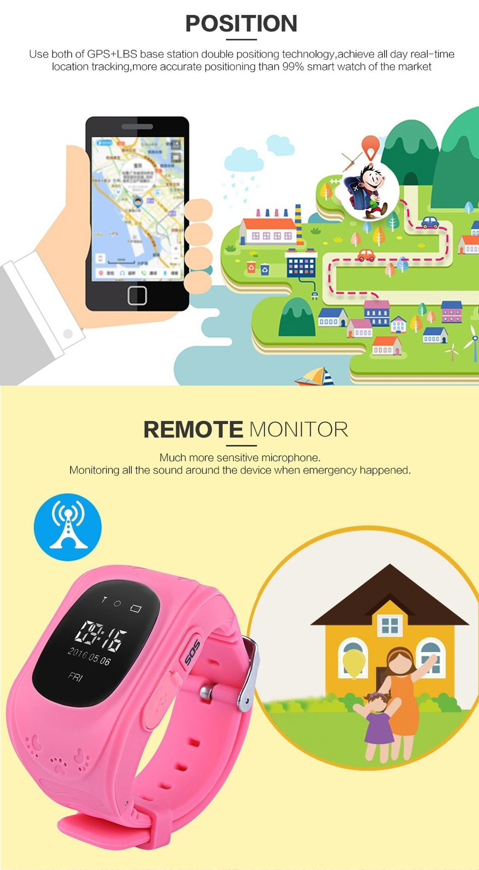 Watches Clever Child Cute Smartwatch Safe-keeper Sos Call Anti-lost Monitor Real Time Tracker For Children Base Station Location App Control