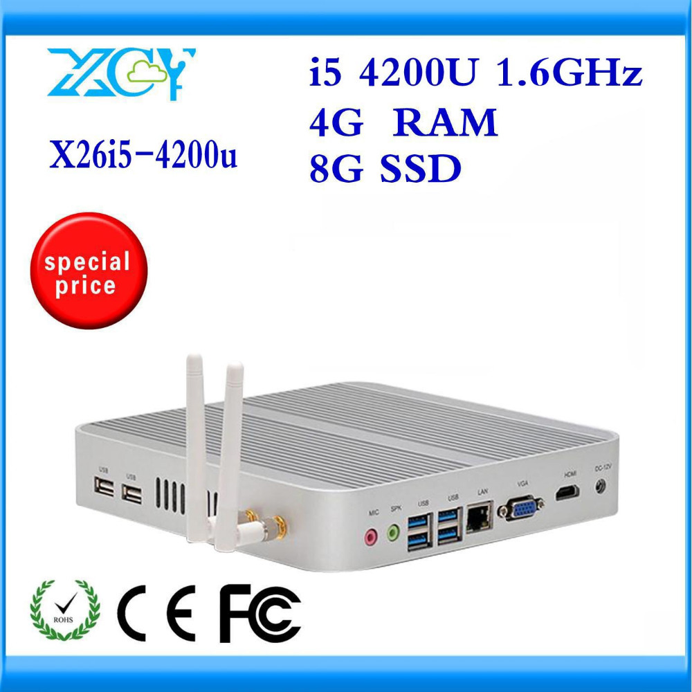 XCY FANLESS ALUMINUM ALLOY MINI PC X-26 4200U15 DUAL CORE 1* LAN THIN CLIENT 4G RAM AND 8G SSD LINUX POWERFUL ITX TV STATION(China (Mainland))