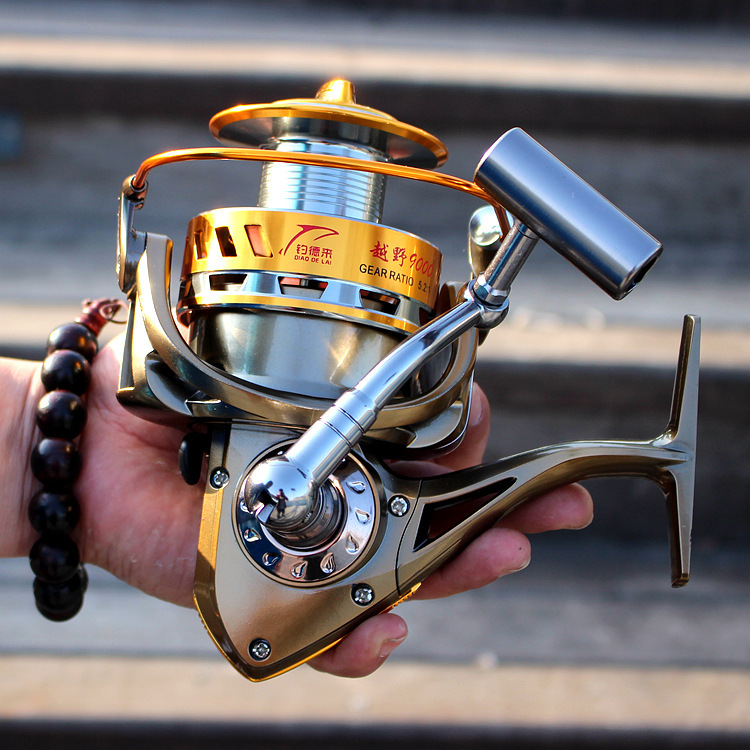 Фотография Free shipping 9000 Full metal wire Cup Big long shot wheel Fishing reels 12BB + 1BB CNC Sea pole wheel--D2