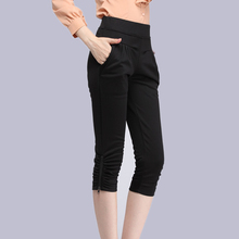 Women's Cropped Trousers /Pants Capris Harem Pants zippers Women Pleasted With Pockets Elastic Waist Casual Capris 2016 Summer