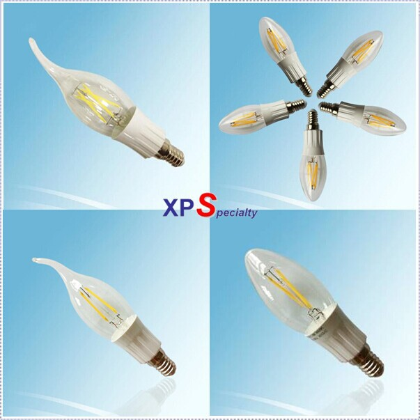 Hot Sale AC145-260V and 180-400lm 2-4W E12 E14 new filament candle led bulb of COB dimmable led filament candle bulb lights(China (Mainland))