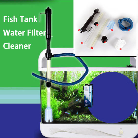 Aquarium battery syphon operated fish tank vacuum gravel for Outdoor fish tank filter
