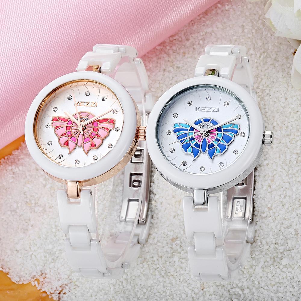 2016 Magic Butterfly Girls Ceramic Watch Fashion Diamond Woman Wristwatch White Porcelain Shell Student Watch 30m KEZZI KW1233(China (Mainland))
