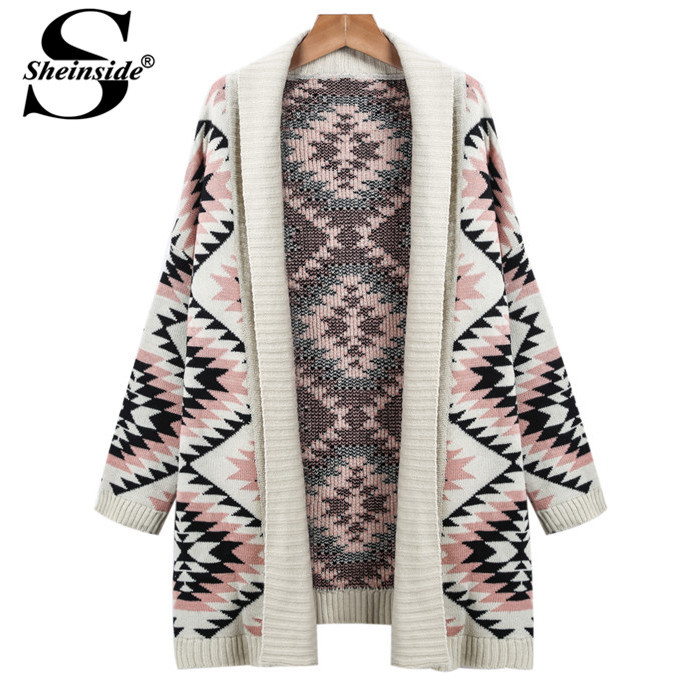 Sheinside Spain Designer Woman Clothes 2015 Winter Fashionable Plus Size Apricot Long Sleeve Geometric Knitted Cardigan Sweater(China (Mainland))