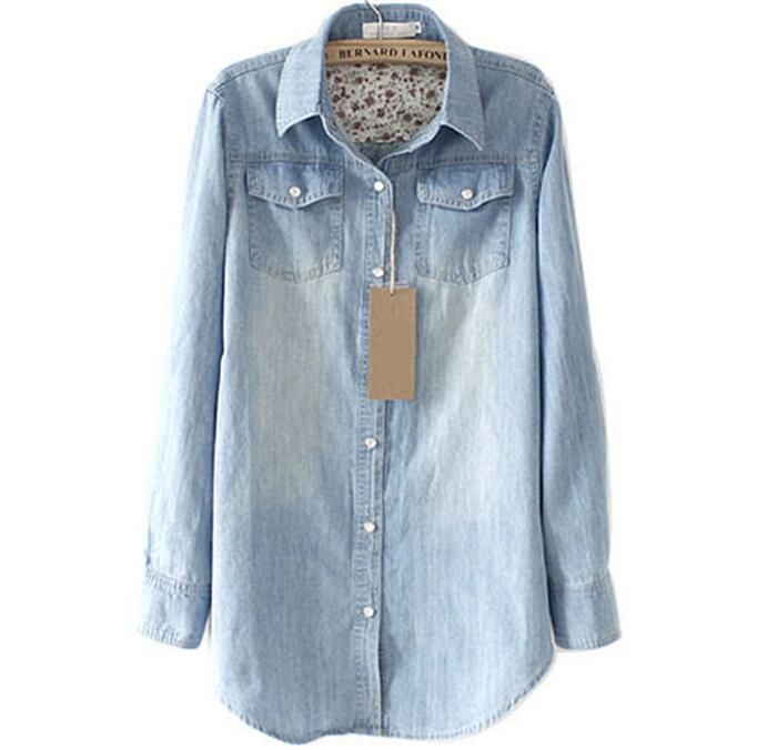 2015 women denim shirt plus size light pearl button long for Ladies light denim shirt