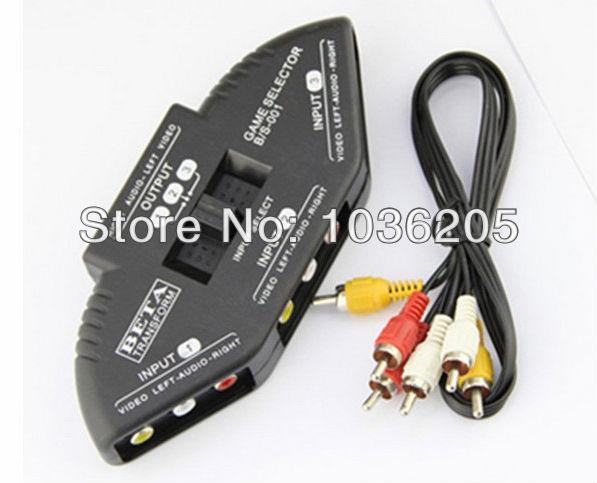 wholesale 5pcs/lot 3-way Audio-Video RCA AV Signal Composite Switcher Box Switcher Splitter For DVD hot sale(China (Mainland))