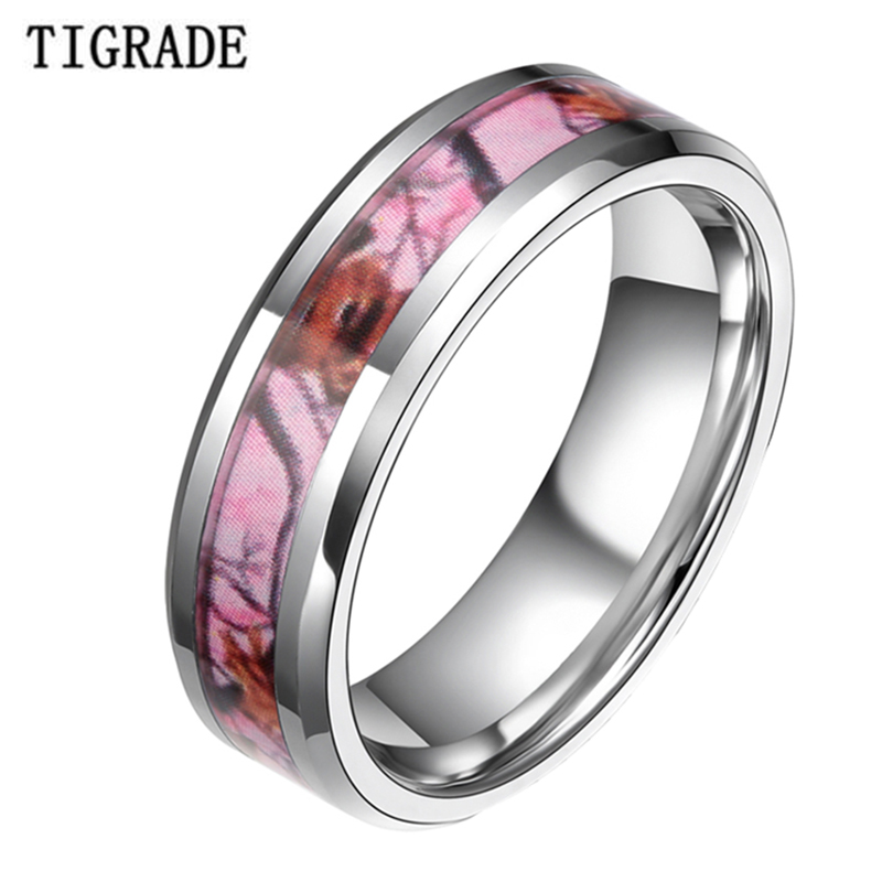 6mm 8mm pink tungsten carbide ring silver edge women men camouflage hunting camo sika deer head wedding band engagement jewelry - Mens Wedding Rings Cheap