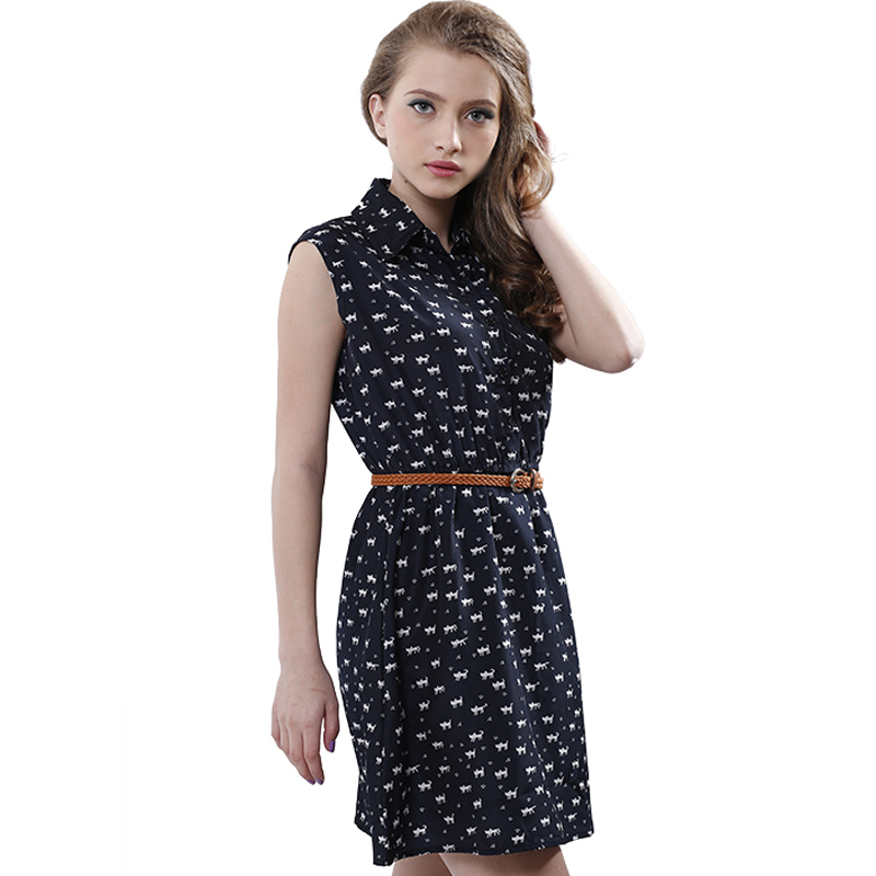 Softu Hot Sale Women's Fashion Summer Casual Shirts Dress Sleeveless Tank Knee Length A Line Dress Cat Printed Dresses With Belt(China (Mainland))