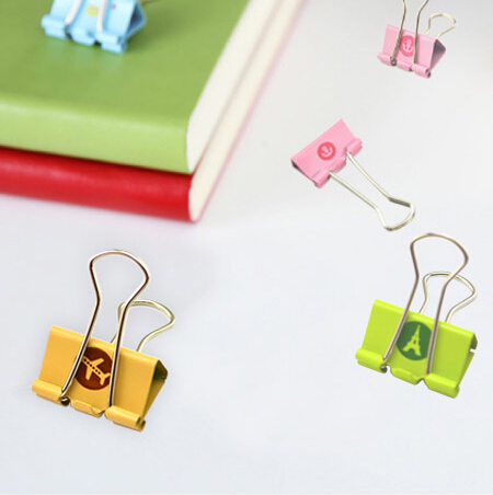 Aoopen stationery supplies Cute mini binder clips metal paper clip for office school kids 19mm 24pcs/set Oulm wholesale(China (Mainland))