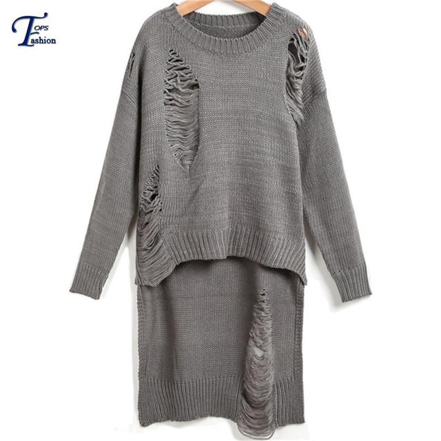 Новинка мода тонкий пуловер женская одежда свободного покроя трикотаж серый с длинным ...