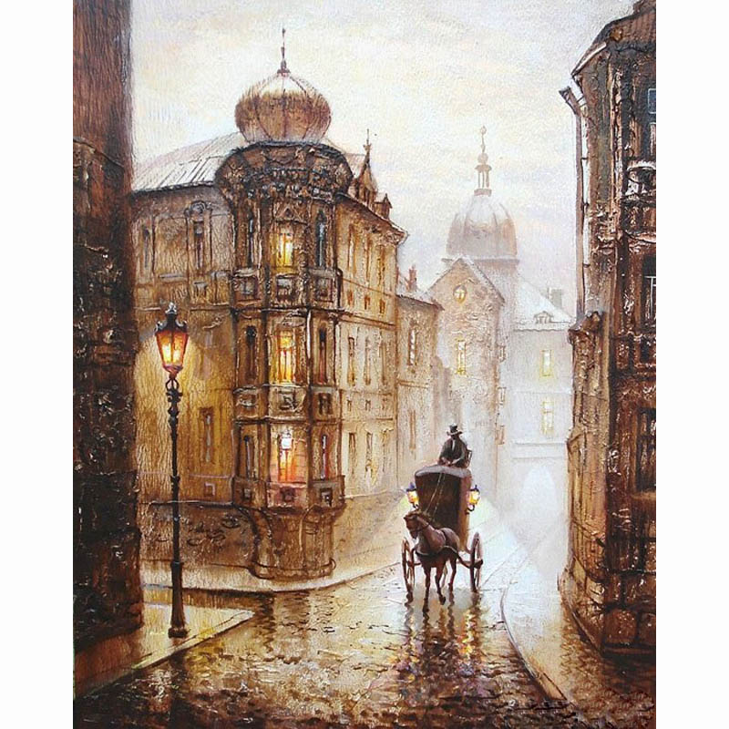 Vintage Europe Street DIY Digital Paint Drawing Kit Oil Painting by Numbers 40*50cm on Canvas Home Decor Wall Gift Present frame(China (Mainland))