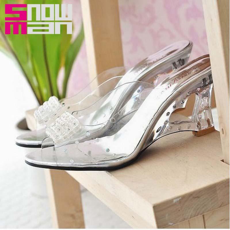 Big Size 34-43 Sexy Open Toe Slides Summer Shoes Flip Flops Fashion Cutout Wedges Heels Transparent Women Sandals Summer Style
