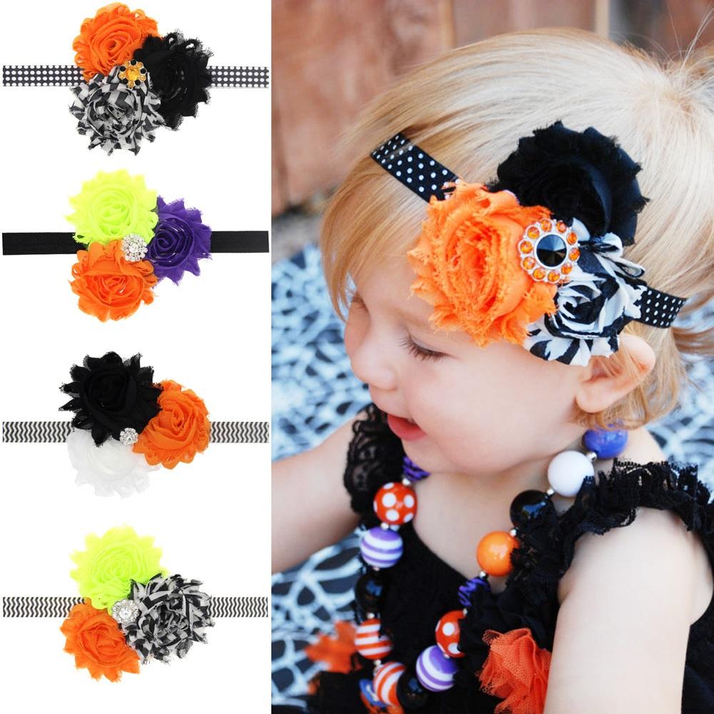 Baby Halloween Headband Orange and Black Chevron Infant toddler Halloween Bow Shabby Chic Flower Photo Prop 1pc HB595(China (Mainland))