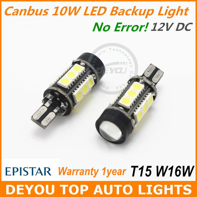 2pcs No Error Canbus Power 10W W16W T15 LED Backup Reverse Light Bulb Xenon White 12V 1year warranty