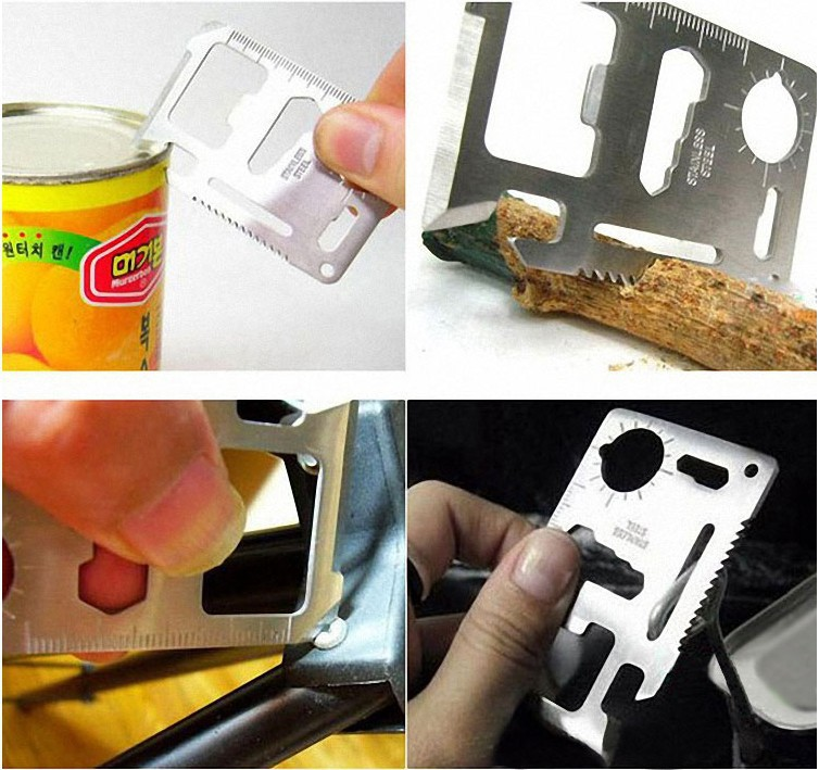 1 Piece Credit Card Survival Pocket Knife 11-1 Multifunction Multi Mini Saw Camping Tool(China (Mainland))