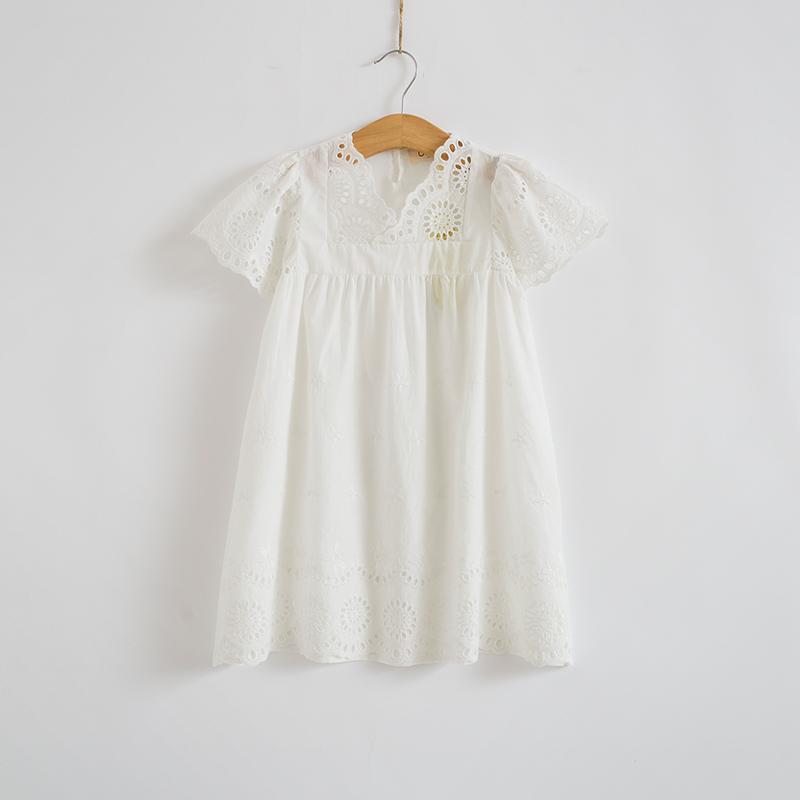2016 summer new girl cotton lace dress kids children clothes white embroidery lace dress princess korean cute mini dress 3-10T(China (Mainland))