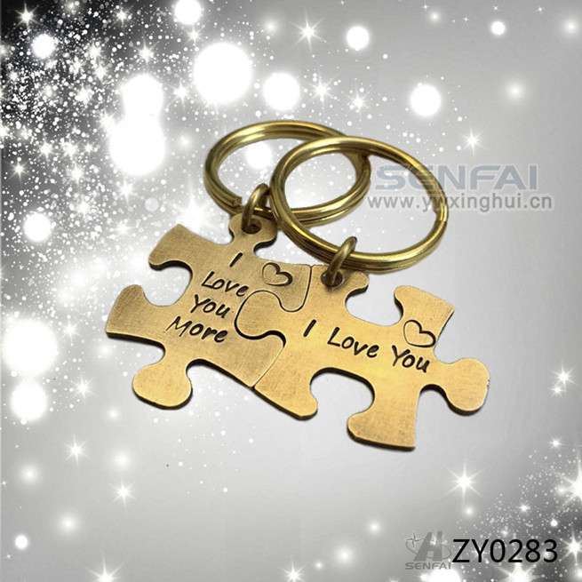 Hand Stamped Couple Keychain Engagement Gift,Autism Puzzle Piece Keychains Jigasw,Anillo De Amistad llavero Keyholder Chaveiro(China (Mainland))