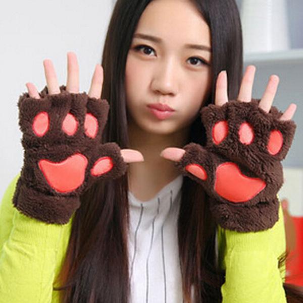1 пара/лот новинка хэллоуин половина покрытые перчатки рукавицы симпатичный медведь кошка плюшевые лапа коготь зима пушистые перчатки GI673099