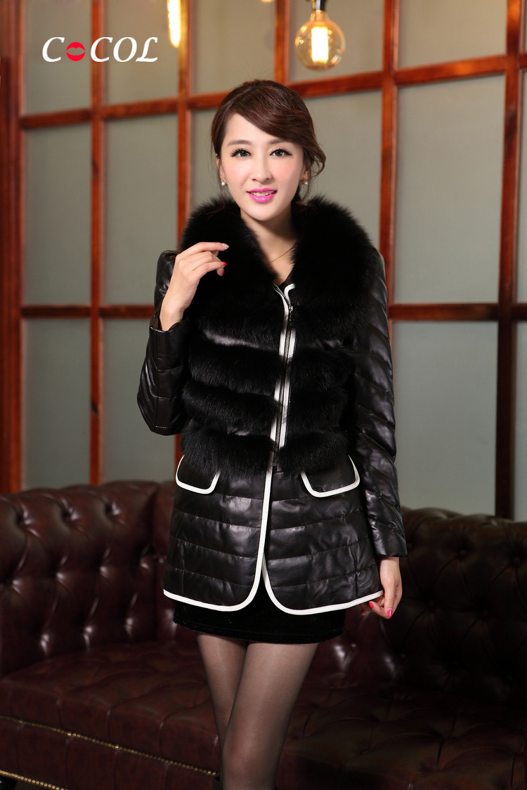 fox fur coat genuine leather jacket with fur long women's sheepskin jacket with fox fur sex motorcycle EMS Free Shipping(China (Mainland))