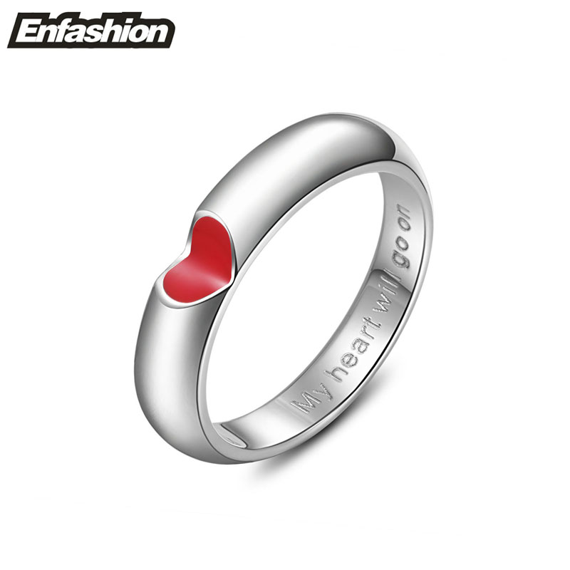 Fashion red heart ring love finger couple rings silver rings for women and men wedding ring stainless steel jewelry wholesale(China (Mainland))