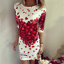 2016 Spring Summer Dresses Women Sexy Party Club Bodycon Sheath Casual Elegant Dress Print Red Heart Lovely Dresses