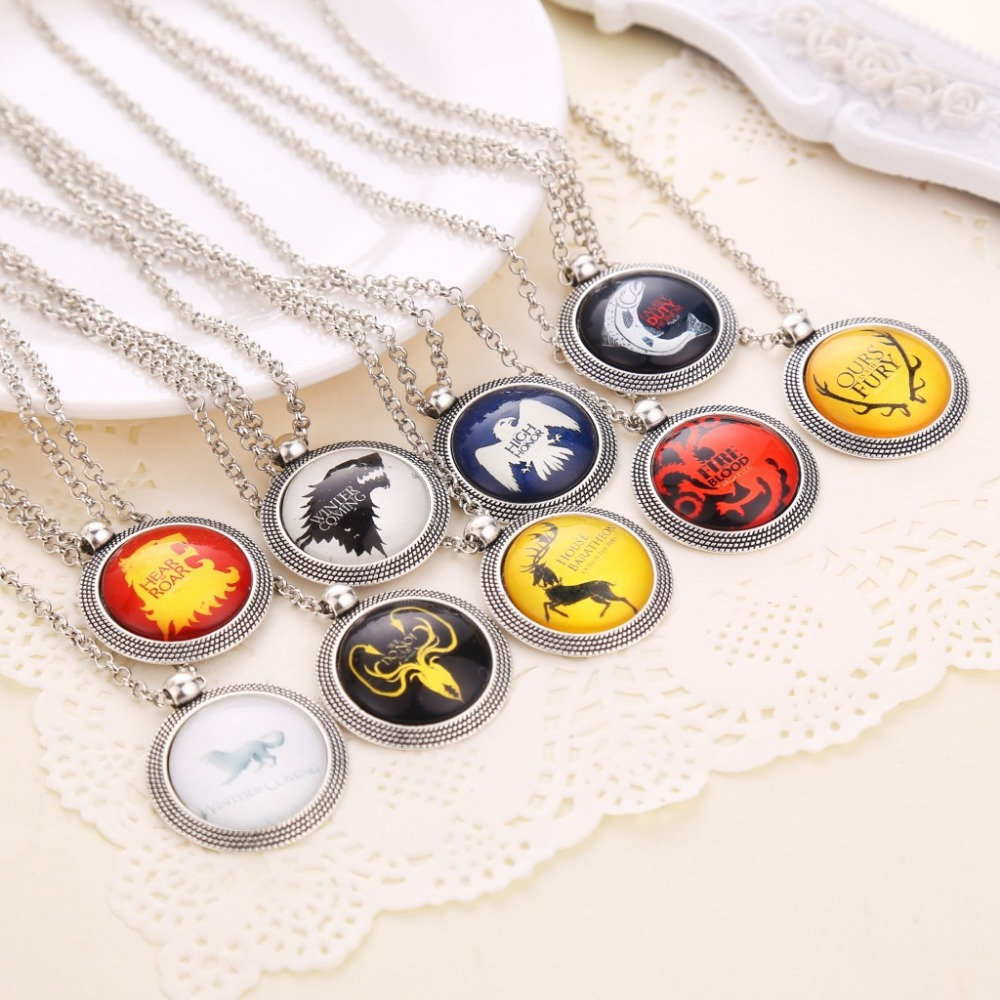 Free Shipping Hot Sale 7 Designs Song Of Ice And Fire Game Of Thrones Picture Glass Pendants Necklace(China (Mainland))